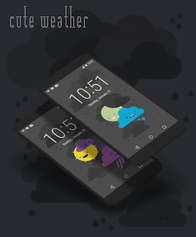 Śliczne pogodowe ekrany aplikacji moile na makietach 3d smartphone