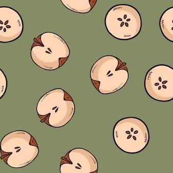 Śliczne pokroić w pół jabłka naturalną rysowane wzór tapety