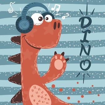 Śliczne postacie dino. ilustracja muzyki.