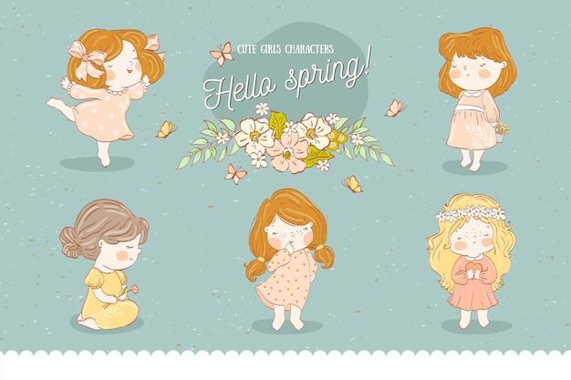 Śliczne postacie dziewcząt. kolekcja wiosenna