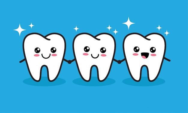 Śliczne postacie kawaii zęby
