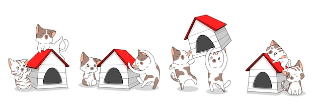 Śliczne postacie kota i drewniany dom