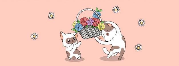 Śliczne postacie kota trzymają kwiaty w dzień wiosny