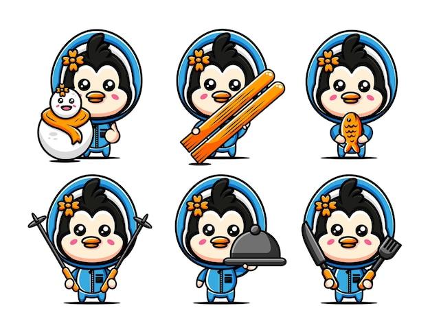 Śliczne postacie pingwinów