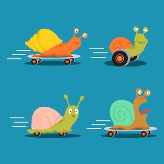 Śliczne postacie ślimaki kreskówka wektor zestawu