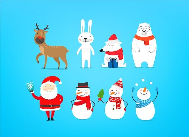 Śliczne postacie świąteczne. święty mikołaj, renifery, bałwan i biały niedźwiedź