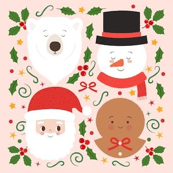 Śliczne postacie świąteczne