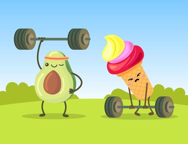 Śliczne postacie z awokado i lodów ćwiczących z hantlami. smutna kreskówka słodyczy próbująca podnieść pręty na płaskiej ilustracji trawnika