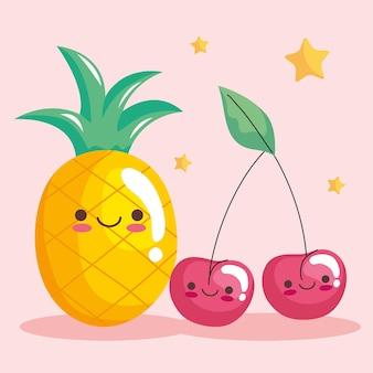 Śliczne postacie z kawaii ananasa i wiśni