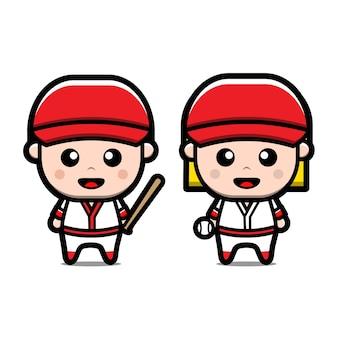 Śliczne postacie z kreskówek baseball