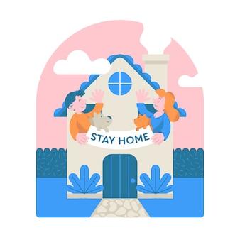 """Śliczne postacie z kreskówek trzymają transparent z napisem """"pobyt w domu"""". ilustracja nowoczesny projekt płaski z wiadomością kwarantanny. epidemia koronawirusa covid-19, praca z domu. plakat motywacyjny."""