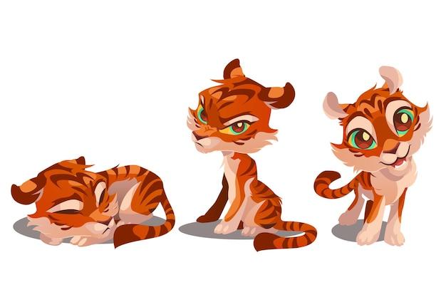 Śliczne postacie z kreskówek tygrysów