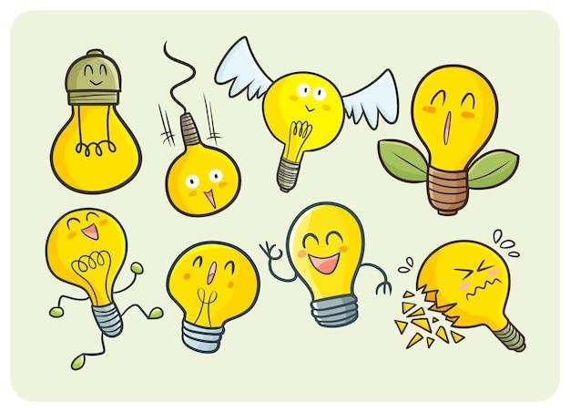 Śliczne postacie z żarówek w stylu doodle kawaii