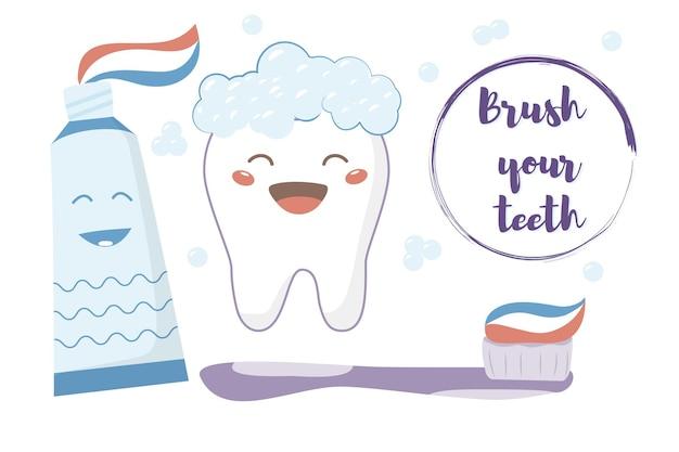 Śliczne postacie zębów ze szczoteczką do zębów i pastą do zębów na białym tle kreskówka wektor