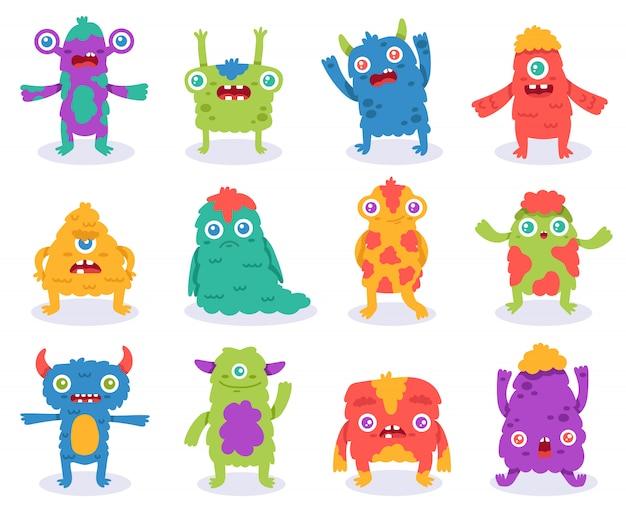 Śliczne potwory. halloweenowe potwory z kreskówek, śmieszne puszyste stworzenie, gremlin lub obcy, straszne potwory maskotki ilustracja. maskotka puszysty komiks, szczęśliwy uśmiech obcy