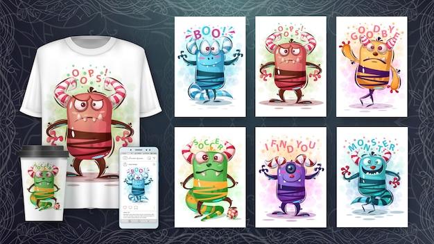 Śliczne potwory ilustracja i merchandising