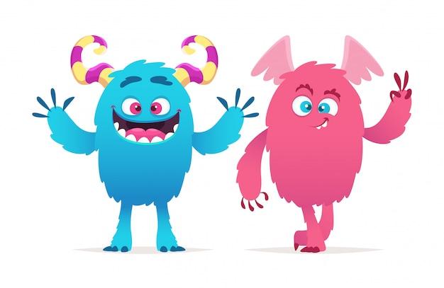 Śliczne potwory. kreskówka chłopiec i dziewczynka ilustracja potwory. postacie halloween