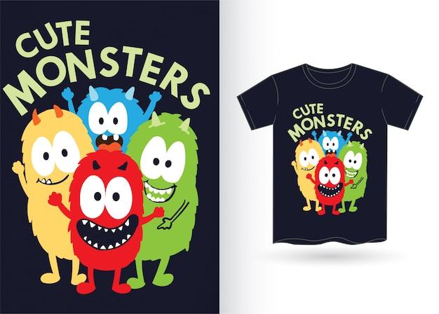 Śliczne potwory na koszulkę