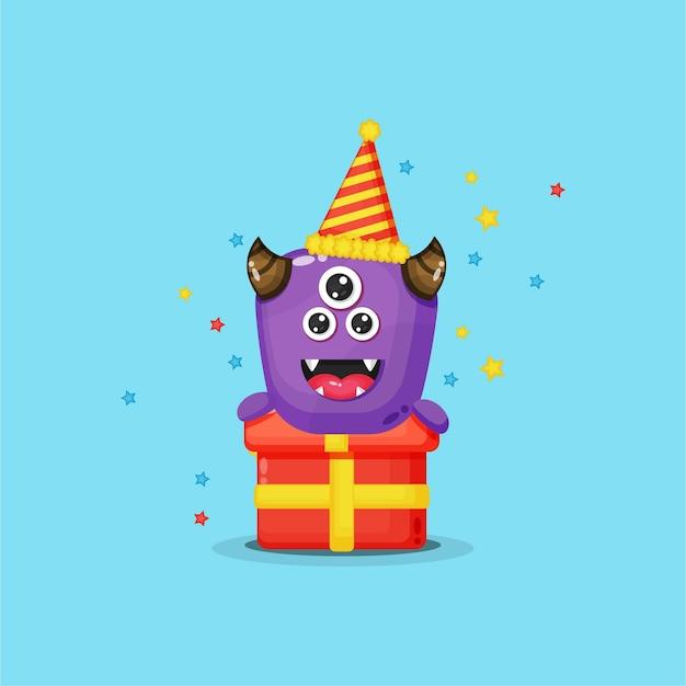 Śliczne Potwory Obchodzące Urodziny Premium Wektorów