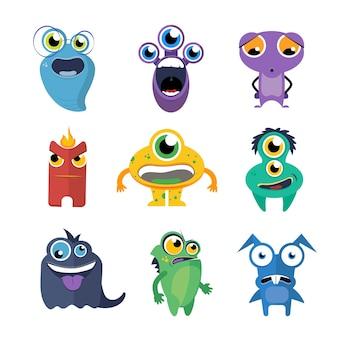 Śliczne potwory wektor zestaw w stylu cartoon. postać z kreskówki obcych, zabawna ilustracja kolekcji stworzeń