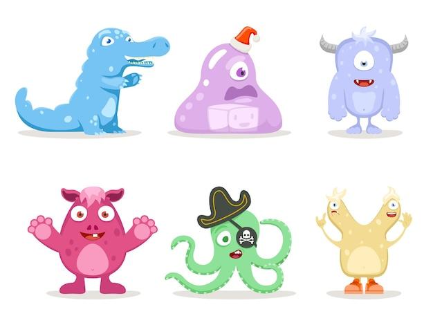 Śliczne potwory. zestaw potworów kreskówek.