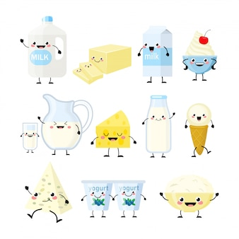 Śliczne produkty mleczne kreskówka ilustracja na białym tle znaków