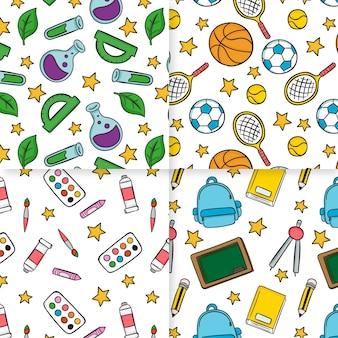 Śliczne przybory szkolne ręcznie rysowane wzór