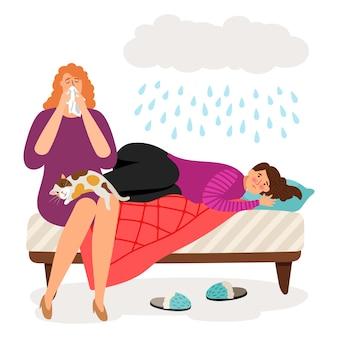 Śliczne przygnębione dziewczyny i deszcz