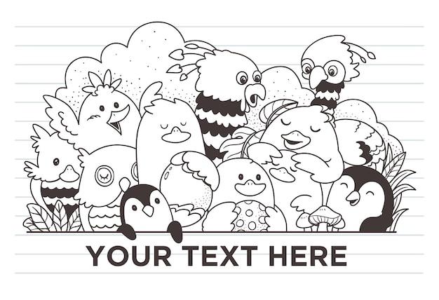 Śliczne ptaki doodle