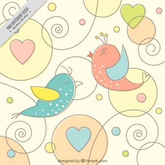 Śliczne ptaki na tle ozdobnych