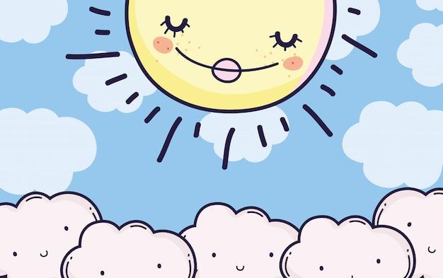Śliczne puszyste chmury i szczęśliwy słońce