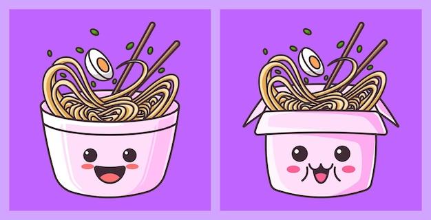 Śliczne ramen kreskówka japońskie jedzenie