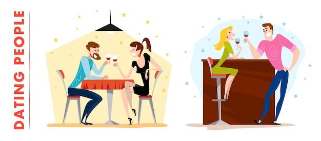 . . śliczne randki postaci mężczyzny i pani. szczęśliwy facet i dziewczyna siedzi przy stoliku kawiarni, picie wina w restauracji wieczorem.