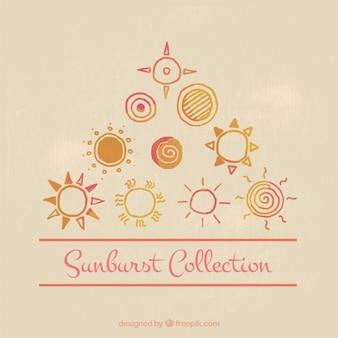 Śliczne ręcznie malowane zestaw sunburst