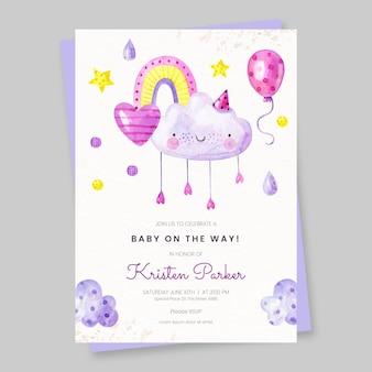 Śliczne ręcznie rysowane baby shower zaproszenia rodziny mary