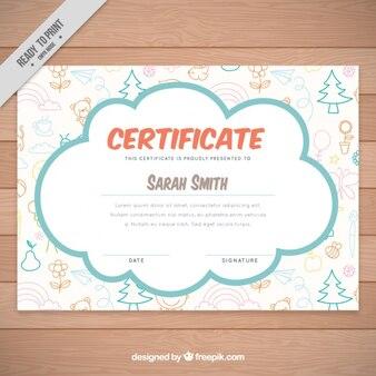 Śliczne ręcznie rysowane certyfikatu