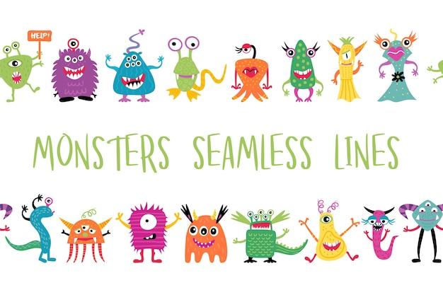 Śliczne ręcznie rysowane potwory bez szwu linii