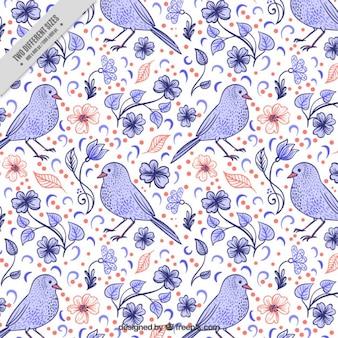 Śliczne ręcznie rysowane ptak z kwiatami w tle