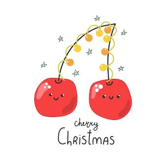Śliczne ręcznie rysowane wiśnie z girlandą i tekstem cherry christmas