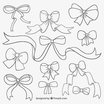 Śliczne ręcznie rysowane wstążki