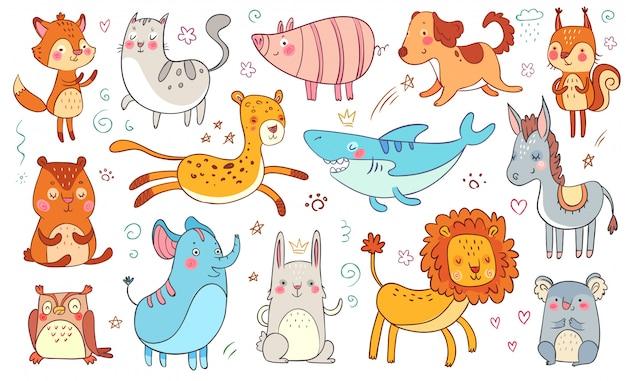 Śliczne ręcznie rysowane zwierzęta. przyjaźni doodle zwierzęcy śmieszny kot, dekoracyjny uroczy lis i dziecko niedźwiedź odizolowywał ilustracja set