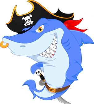 Śliczne rekin kreskówka pirat