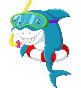 Śliczne rekin kreskówka z nadmuchiwany pierścień