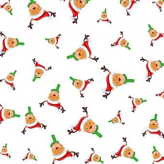 Śliczne renifery postaci bożonarodzeniowe wzór
