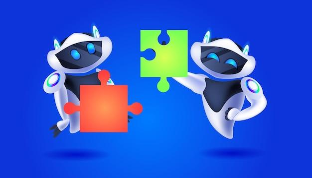 Śliczne roboty układające elementy puzzli, zespół nowoczesnych robotów, rozwiązujący problemy sztucznej inteligencji