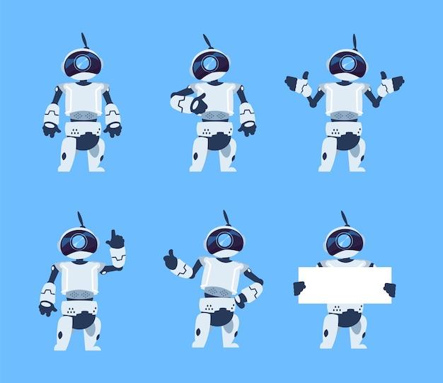 Śliczne roboty. zestaw postaci z kreskówek android, futurystyczna maszyna z różnymi pozami. ilustracja wektorowa na białym tle