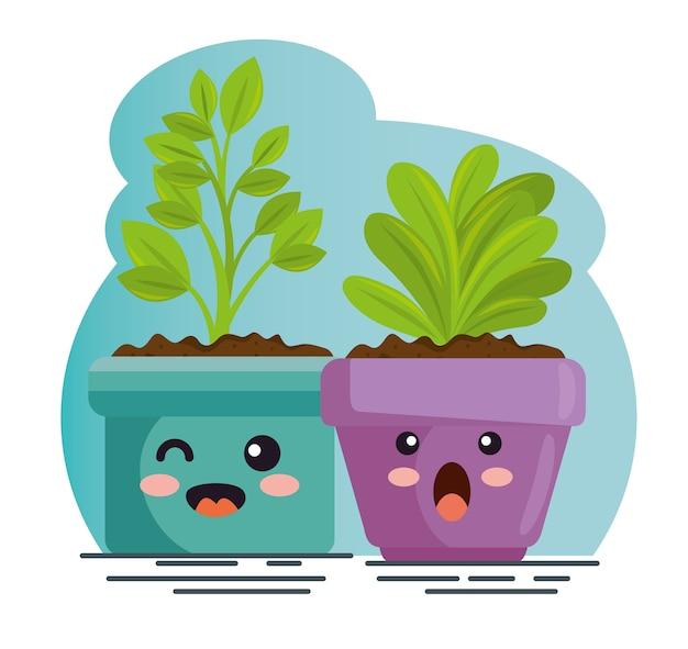 Śliczne rośliny w doniczce kawaii charakter