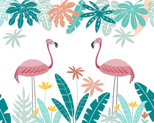 Śliczne różowe flamingi z ramą tropikalnych liści flamingo na białym tle