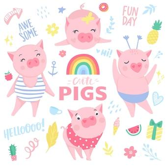 Śliczne różowe świnie wektor zestaw. elementy do projektowania sylwestrowego. symbol 2019 roku w chińskim kalendarzu. ilustracja świnia na białym tle. zwierzęta z kreskówek.