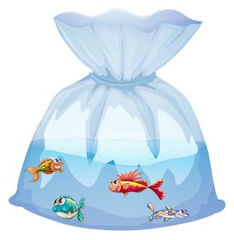Śliczne ryby w plastikowej torbie kreskówka na białym tle